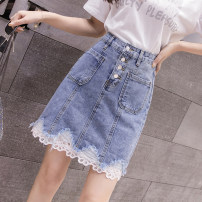 skirt Spring 2021 S,M,L,XL blue Short skirt Versatile High waist A-line skirt other Type A 18-24 years old 4 10 Denim Other / other hole