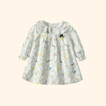 Dress white female Pretty girl Cotton 100% spring and autumn princess Long sleeves Broken flowers cotton Splicing style Class A 3 months, 12 months, 6 months, 9 months, 18 months, 2 years old, 3 years old, 4 years old