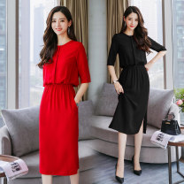 Dress Summer 2021 Red, black S,M,L,XL,XXL Middle-skirt Short sleeve Crew neck One pace skirt Type H Other / other