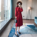 Dress Autumn 2020 Black, Retro Red XS,S,M,L,XL Mid length dress singleton  Long sleeves commute Doll Collar High waist Solid color Single breasted A-line skirt routine Type A Butterfly of man Korean version Lace up, button