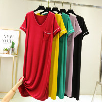 Dress Summer 2021 Yellow, black, green, red, taro M (recommended 80-105 kg), l (recommended 105-125 kg), XL (recommended 125-145 kg), XXL (recommended 145-165 kg) longuette singleton  Short sleeve commute V-neck High waist Solid color Socket A-line skirt routine Type A Splicing J0123 other modal