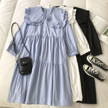 Dress Spring 2021 Black, white, blue Average size Mid length dress singleton  Long sleeves commute Doll Collar Solid color Socket 18-24 years old Type H Korean version Button 51% (inclusive) - 70% (inclusive)