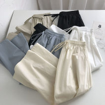 skirt Summer 2021 Average size Black, white, blue, khaki, apricot Mid length dress commute High waist Solid color Type A 18-24 years old 51% (inclusive) - 70% (inclusive) Pocket, lace up Korean version