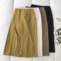 skirt Spring 2021 S,M,L Black, apricot, khaki, yellow longuette commute High waist Solid color Type A 18-24 years old 51% (inclusive) - 70% (inclusive) zipper Korean version