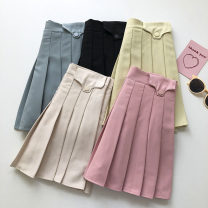 skirt Summer 2021 S,M,L Apricot, blue, black, yellow, pink Short skirt commute High waist Solid color Type A 18-24 years old 51% (inclusive) - 70% (inclusive) fold Korean version