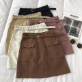 skirt Winter 2020 S,M,L Apricot, khaki, black, lotus root, coffee Short skirt commute High waist Solid color Type A 18-24 years old 51% (inclusive) - 70% (inclusive) pocket Korean version