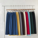 skirt Winter 2020 Average size Black, lake blue, red, apricot, coffee, gray, yellow, blue, grass green Middle-skirt commute High waist A-line skirt Solid color Type A 18-24 years old knitting fold Korean version