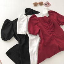 Dress Summer 2021 Black, white, red Average size Short skirt singleton  Short sleeve commute square neck Solid color Socket 18-24 years old Type A Korean version fold 51% (inclusive) - 70% (inclusive)