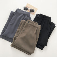 Casual pants Black, coffee, grey blue M, L Winter 2020 trousers Straight pants High waist commute routine 18-24 years old 51% (inclusive) - 70% (inclusive) zipper polyester fiber Asymmetry