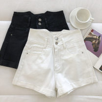 Jeans Summer 2021 Black, white S,M,L shorts High waist Wide legged trousers routine 18-24 years old Button 51% (inclusive) - 70% (inclusive)