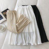 skirt Spring 2021 Average size Black, white, apricot longuette commute High waist Solid color Type A 18-24 years old 51% (inclusive) - 70% (inclusive) fold Korean version