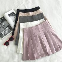 skirt Summer 2020 S,M,L White, gray, black, apricot, pink Short skirt commute High waist Type A 18-24 years old Korean version