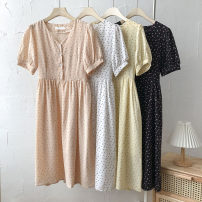 Dress Summer 2021 Black, white, yellow, pink Average size Mid length dress singleton  Short sleeve commute V-neck Broken flowers Single breasted 18-24 years old Type A Korean version Frenulum 51% (inclusive) - 70% (inclusive)