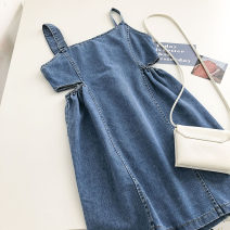 Dress Summer 2021 blue M, L Short skirt singleton  Sleeveless commute High waist Solid color zipper A-line skirt camisole 18-24 years old Type A Korean version 51% (inclusive) - 70% (inclusive)