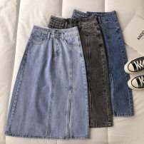 skirt Spring 2021 S,M,L Dark blue, light blue, gray longuette commute High waist Solid color Type A 18-24 years old 51% (inclusive) - 70% (inclusive) pocket Korean version