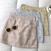 skirt Summer 2021 S,M,L Yellow, blue, pink Short skirt commute High waist Broken flowers Type A 18-24 years old 51% (inclusive) - 70% (inclusive) zipper Korean version