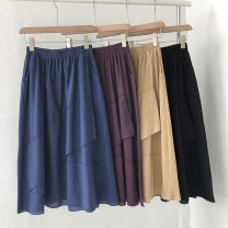skirt Spring 2021 Average size Black, khaki, sapphire, Burgundy Mid length dress commute High waist Solid color Type A 18-24 years old 51% (inclusive) - 70% (inclusive) pocket Korean version
