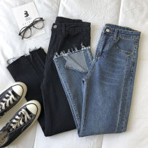 Jeans Spring 2021 Black, dark blue S,M,L trousers High waist Straight pants routine 18-24 years old 51% (inclusive) - 70% (inclusive)