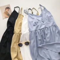 Dress Summer 2021 Blue, yellow, black, white Average size Mid length dress singleton  Sleeveless commute Solid color Socket camisole 18-24 years old Type A Korean version 51% (inclusive) - 70% (inclusive)