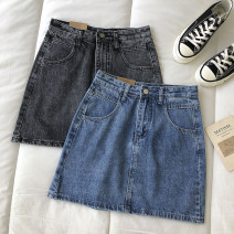 skirt Summer 2021 S,M,L Blue, smoky grey Short skirt commute High waist Solid color Type A 18-24 years old 51% (inclusive) - 70% (inclusive) pocket Korean version