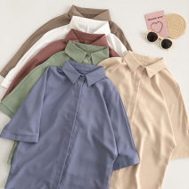 shirt Blue, white, green, khaki, apricot, brown Average size Summer 2021 other 51% (inclusive) - 70% (inclusive) Short sleeve commute Regular Polo collar Single row multi button Solid color 18-24 years old Straight cylinder Korean version