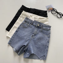 Jeans Summer 2021 S,M,L Black, white, blue shorts High waist Wide legged trousers routine 18-24 years old Button 51% (inclusive) - 70% (inclusive)