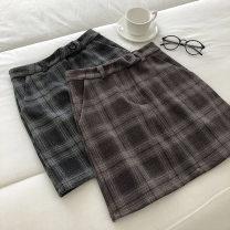 skirt Winter 2020 S,M,L Grey, brown Short skirt commute High waist lattice Type A 18-24 years old 51% (inclusive) - 70% (inclusive) pocket Korean version