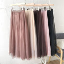 skirt Summer 2021 Average size Dark brown, pink, black, white, apricot, brownish red longuette commute High waist Solid color Type A 18-24 years old 51% (inclusive) - 70% (inclusive) Gauze Korean version