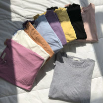 T-shirt Average size Spring 2021 Long sleeves Crew neck easy Regular commute other 51% (inclusive) - 70% (inclusive) 18-24 years old Korean version Solid color