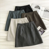 skirt Autumn 2020 S,M,L,XL Dark grey, black, apricot, peacock blue, coffee Short skirt commute High waist Solid color Type A 18-24 years old 51% (inclusive) - 70% (inclusive) zipper Korean version