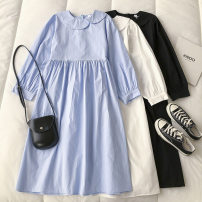 Dress Spring 2021 Black, white, blue Average size Mid length dress singleton  Long sleeves commute Crew neck Solid color Socket 18-24 years old Type H Korean version Button 51% (inclusive) - 70% (inclusive)