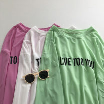 T-shirt White, green, pink Average size Spring 2021 Long sleeves Crew neck easy Regular routine commute other 51% (inclusive) - 70% (inclusive) 18-24 years old Korean version Solid color printing