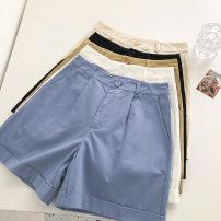 Casual pants Blue, white, black, khaki, apricot S,M,L Summer 2021 shorts Wide leg pants High waist commute routine 18-24 years old 51% (inclusive) - 70% (inclusive) Korean version pocket