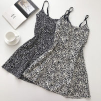 Dress Summer 2021 Black, white Average size Short skirt singleton  Sleeveless commute Leopard Print zipper camisole 18-24 years old Type A Korean version 51% (inclusive) - 70% (inclusive)