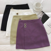 skirt Spring 2021 S,M,L Black, white, green, purple Short skirt commute High waist Solid color Type A 18-24 years old 51% (inclusive) - 70% (inclusive) zipper Korean version