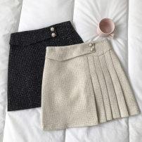 skirt Autumn 2020 S,M,L Black, apricot Short skirt commute High waist A-line skirt Solid color Type A 18-24 years old Wool zipper Korean version