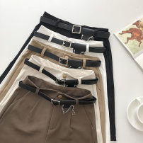 Casual pants Brown, black, white, khaki, apricot S,M,L Summer 2021 Pant Straight pants High waist commute routine 18-24 years old 51% (inclusive) - 70% (inclusive) Korean version belt