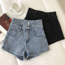 Jeans Spring 2021 Black, blue S,M,L shorts High waist Wide legged trousers routine 18-24 years old Button 51% (inclusive) - 70% (inclusive)