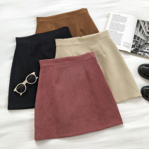 skirt Autumn 2020 S,M,L Black, apricot, pink, brown Short skirt commute High waist Solid color Type A 18-24 years old 51% (inclusive) - 70% (inclusive) zipper Korean version