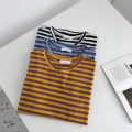 T-shirt Yellow, black, blue Average size Summer 2021 Short sleeve Crew neck easy Regular commute other 51% (inclusive) - 70% (inclusive) 18-24 years old Korean version Pinstripe, solid