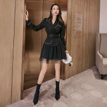 Dress Spring 2021 black S,M,L,XL,2XL,3XL Short skirt singleton  Long sleeves commute tailored collar High waist Solid color Socket A-line skirt routine Others 30-34 years old Type A Kelly Yana Lace, stitching, mesh, zipper 30% and below other cotton
