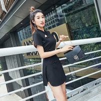 Dress Spring 2021 Black, yellow S,M,L,XL,2XL,3XL,4XL Short skirt Two piece set Short sleeve commute stand collar High waist Solid color Socket A-line skirt routine Others 30-34 years old Type A Kelly Yana Panel, button, zipper 30% and below other cotton