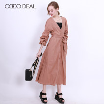 Dress Summer of 2018 [50] Camel [q] Khaki [u] purple longuette Two piece set Long sleeves Sweet V-neck High waist Solid color Single breasted other puff sleeve Breast wrapping 25-29 years old Coco Deal Bowtie More than 95% cotton Cotton 100% solar system