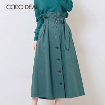 skirt Summer of 2018 36 38 40 Mid length dress Sweet High waist A-line skirt Solid color 25-29 years old More than 95% Coco Deal cotton Button Cotton 98% polyurethane elastic fiber (spandex) 2% Same model in shopping mall (sold online and offline) solar system