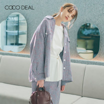 woolen coat Summer 2021 36 38 40 [A] Off white [C] dark pink [R] blue other 95% and above routine Long sleeves Sweet Single breasted routine Polo collar houndstooth  Straight cylinder Coco Deal 25-29 years old Pocket button Solid color Other 100% Same model in shopping mall (sold online and offline)