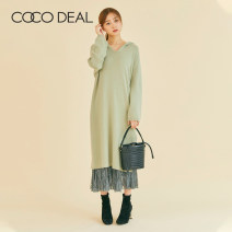 Dress Winter of 2019 longuette singleton  Long sleeves Sweet Hood Loose waist Solid color Socket other routine Others 25-29 years old Type H Coco Deal fold More than 95% other Other 100% solar system Same model in shopping mall (sold online and offline)