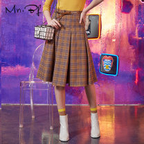 skirt Autumn of 2019 XS S M L XL Mid length dress commute High waist A-line skirt lattice Type A 25-29 years old 71% (inclusive) - 80% (inclusive) Manor bieffe polyester fiber Belt Britain Polyester 78% viscose 20% polyurethane elastic 2% Same model in shopping mall (sold online and offline)