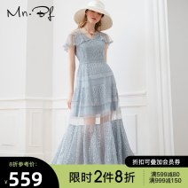 Dress Summer 2020 White spray blue XS S M L XL longuette singleton  Short sleeve commute V-neck High waist Solid color Socket A-line skirt routine 25-29 years old Type A Manor bieffe Lace M2023B4090 31% (inclusive) - 50% (inclusive) Lace nylon