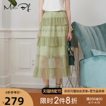skirt Summer 2020 XS S M L XL White black Avocado Green longuette street High waist Cake skirt Dot Type A M2021D2028 More than 95% Chiffon Manor bieffe polyester fiber Splicing Polyester 100% Same model in shopping mall (sold online and offline) Europe and America