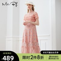 Dress Summer 2020 Berry powder XS S M L XL longuette singleton  Short sleeve commute stand collar High waist Solid color Socket A-line skirt routine 25-29 years old Type A Manor bieffe Lace 31% (inclusive) - 50% (inclusive) Lace nylon Same model in shopping mall (sold online and offline)